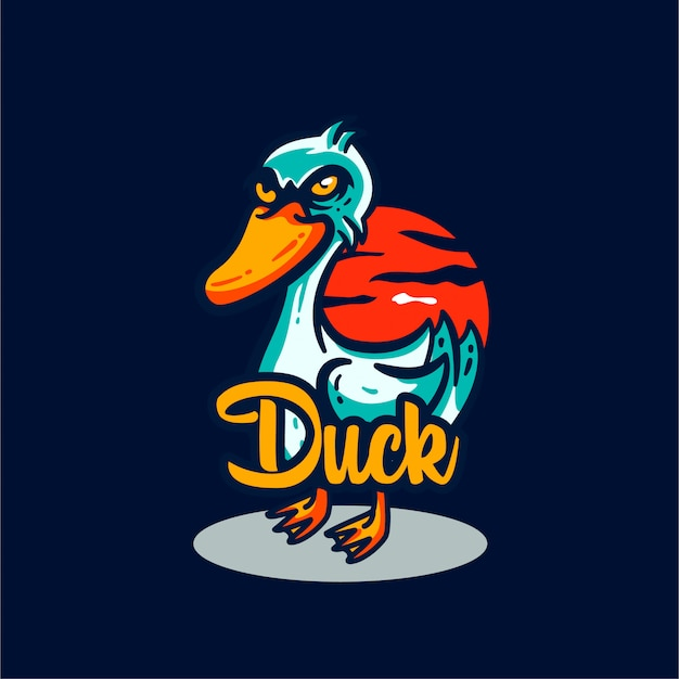 Ilustración de mascota de logo de pato
