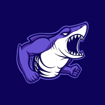 Ilustración mascota logo tiburón enojado con estilo de dibujos animados