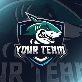 Ilustración de mascota de logotipo de tiburón