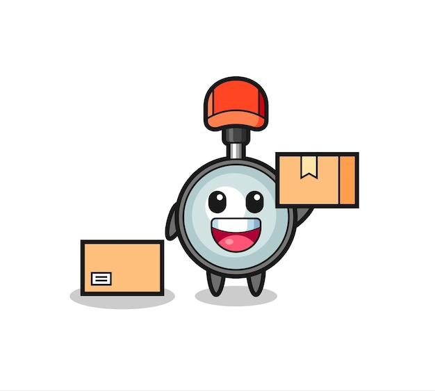 Ilustración de mascota de lupa como mensajero, diseño de estilo lindo para camiseta, pegatina, elemento de logotipo