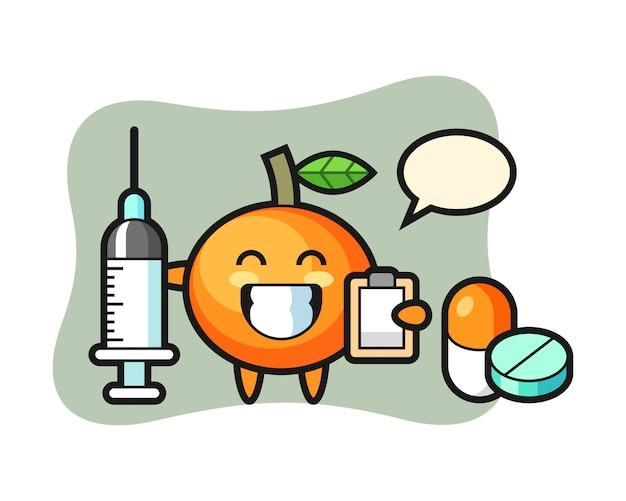 Ilustración de mascota de mandarina como médico, estilo lindo, pegatina, elemento de logotipo