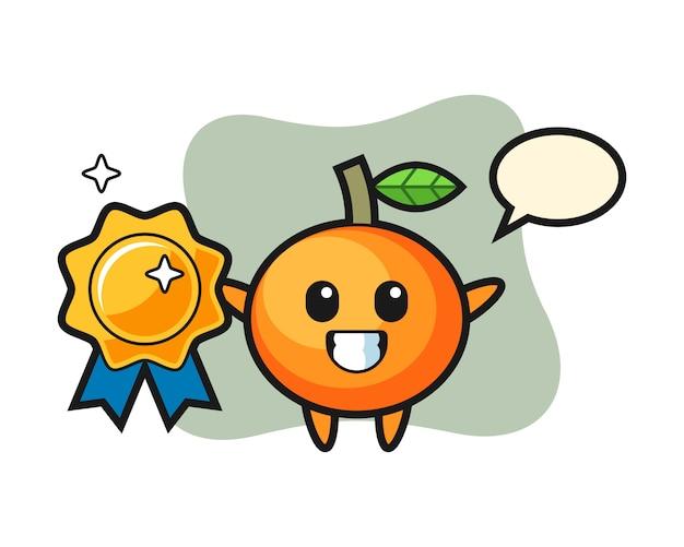 Ilustración de mascota de mandarina sosteniendo una insignia dorada, estilo lindo, pegatina, elemento de logotipo