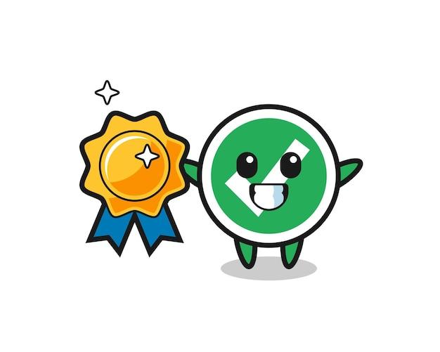 Ilustración de la mascota de la marca de verificación con una insignia dorada, diseño lindo