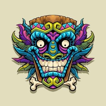 Ilustración de mascota de máscara tiki