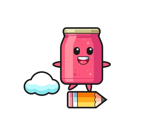 Ilustración de mascota de mermelada de fresa montada en un lápiz gigante, diseño lindo
