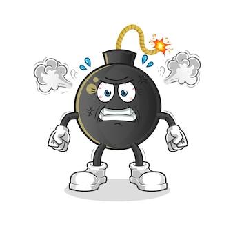 Ilustración de mascota muy enojada de bomba