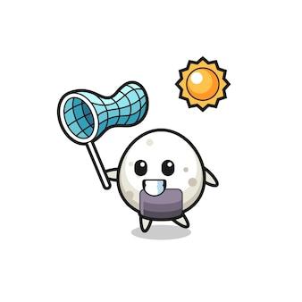 La ilustración de la mascota de onigiri está atrapando una mariposa, diseño de estilo lindo para camiseta, pegatina, elemento de logotipo