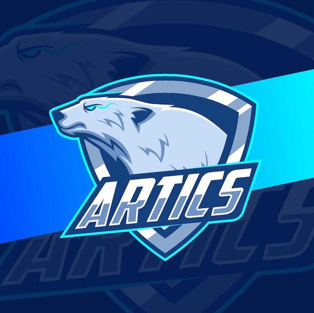 Ilustración de mascota de oso polar para diseño de deportes