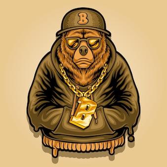 Ilustración de una mascota oso rapero