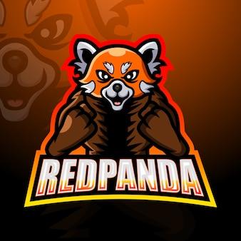Ilustración de mascota panda rojo