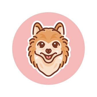 Ilustración de mascota de perro pomerania, perfecta para logotipo o mascota