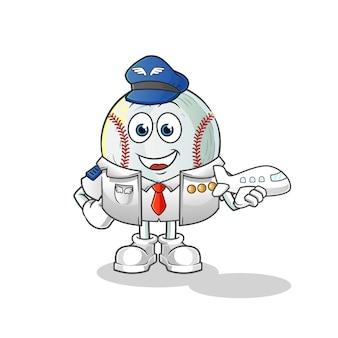 Ilustración de mascota piloto de béisbol