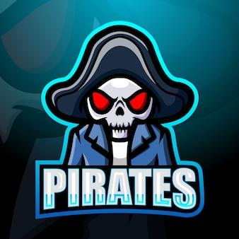Ilustración de mascota pirata cráneo esport