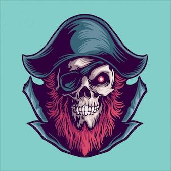 Ilustración de mascota pirata
