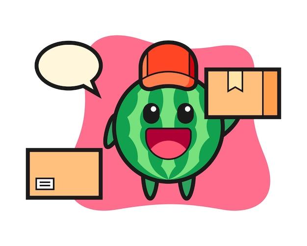 Ilustración de la mascota de la sandía como mensajero