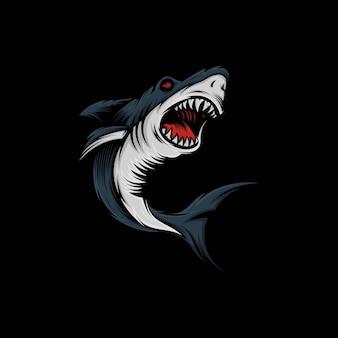 Ilustración de mascota de tiburón