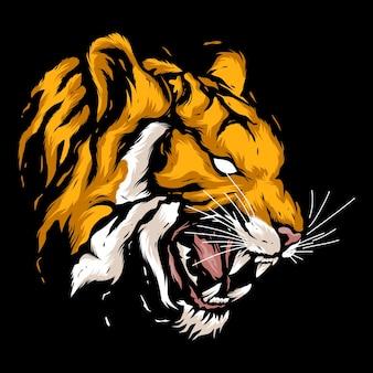 Ilustración de mascota de tigre cabeza enojada