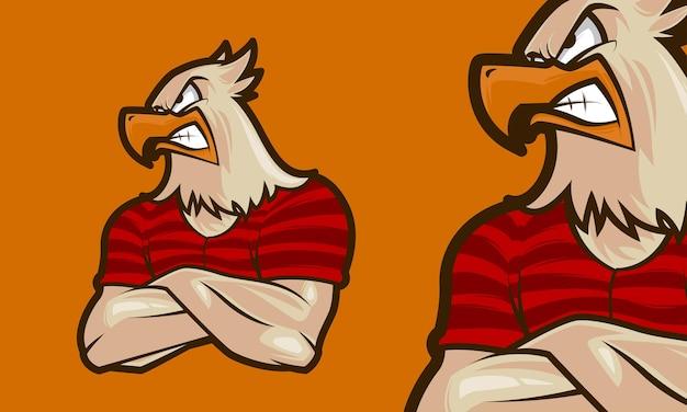 Ilustración de mascota de vector de logotipo premium águila masculina