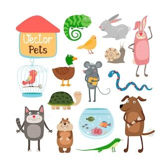 Ilustración de mascotas aislado sobre fondo blanco.