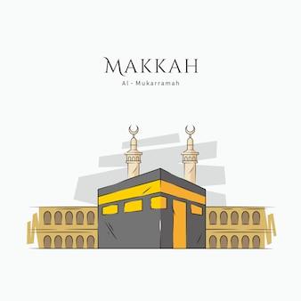 Ilustración de la meca de kaaba