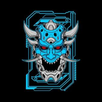 Ilustración de mecha oni azul