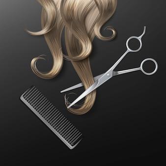 Ilustración de mechón de cabello con tijeras realistas y peine