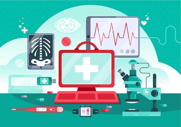 Ilustración de medicina digital con monitor de escritorio del médico y equipo profesional