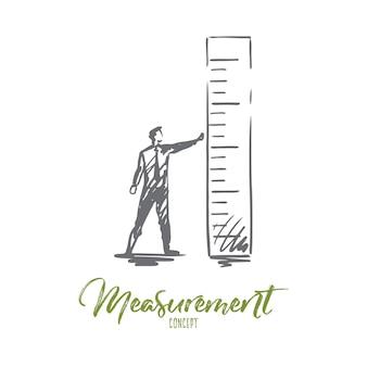 Ilustración de medición en dibujado a mano