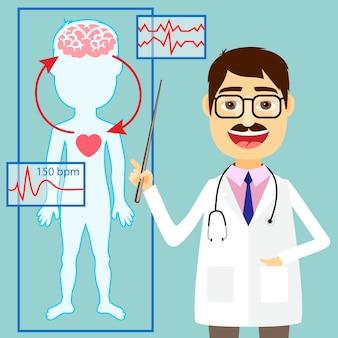 Ilustración del médico apuntando al diagrama de la presión arterial y el sistema circulatorio entre el corazón y el cerebro con un trazado de ecg