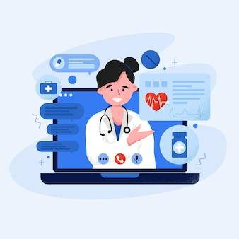 Ilustración del médico en línea en videollamada