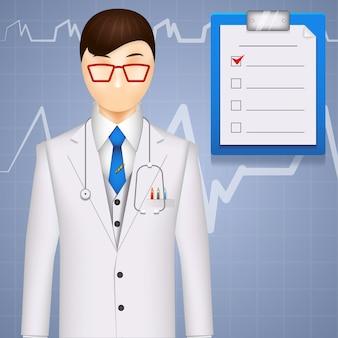 Ilustración de un médico o cardiólogo sobre un fondo de cardiograma