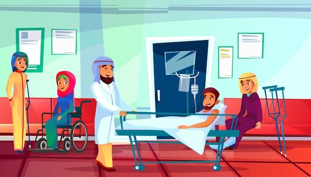 Ilustración de médico y pacientes musulmanes de hombre en sofá de reanimación médica y mujeres