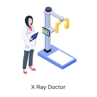 Ilustración de médico de rayos x en diseño isométrico