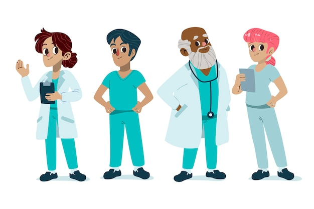 Ilustración de médicos y enfermeras de dibujos animados