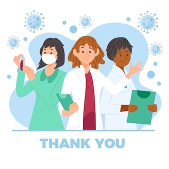 Ilustración de médicos y enfermeras con mensaje de agradecimiento