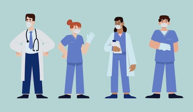 Ilustración de médicos y enfermeras planas orgánicas