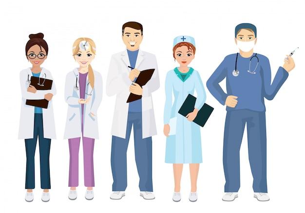 Ilustración de los médicos del equipo sobre un fondo blanco en estilo plano. doctores de mujer y hombre.