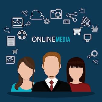 Ilustración de medios en línea