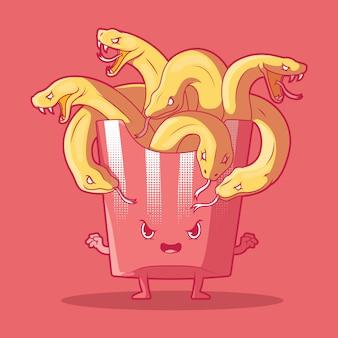 Ilustración de medusa french fries concepto de diseño de mitología de monstruo de comida rápida