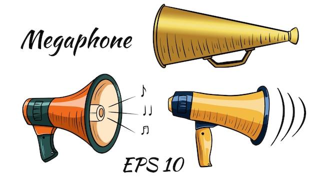 Ilustración de un megáfono, altavoz. estilo de dibujos animados. aislado sobre fondo blanco.