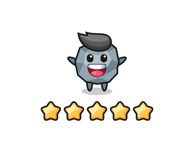 La ilustración de la mejor calificación del cliente, personaje lindo de piedra con 5 estrellas, diseño de estilo lindo para camiseta, pegatina, elemento de logotipo