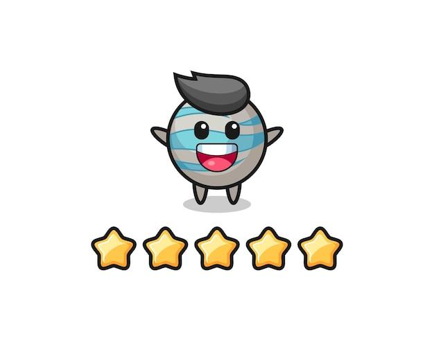 La ilustración de la mejor calificación del cliente, personaje lindo del planeta con 5 estrellas, diseño de estilo lindo para camiseta, pegatina, elemento de logotipo