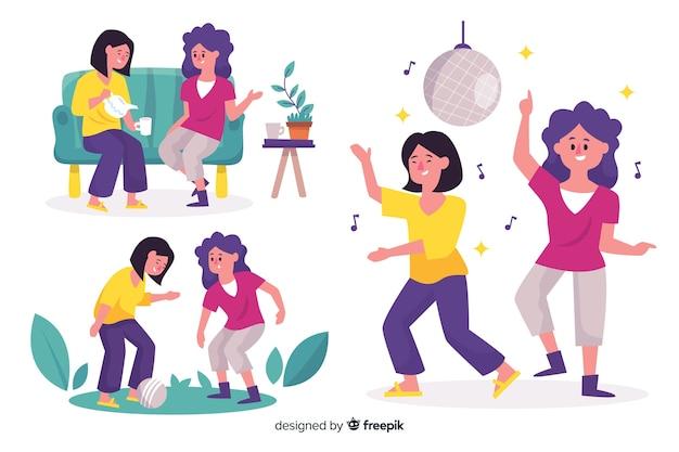 Ilustración de mejores amigos divirtiéndose juntos colección