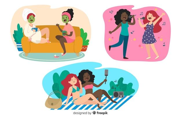 Ilustración de mejores amigos divirtiéndose juntos pack