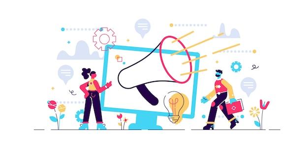 Ilustración de mensaje de anuncio y relaciones públicas