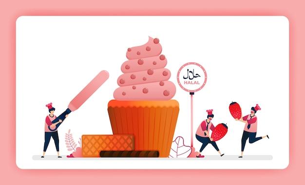 Ilustración de menú de comida halal de cupcake de fresa dulce.