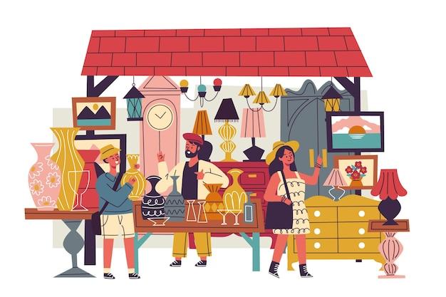 Ilustración del mercado de antigüedades con objetos antiguos