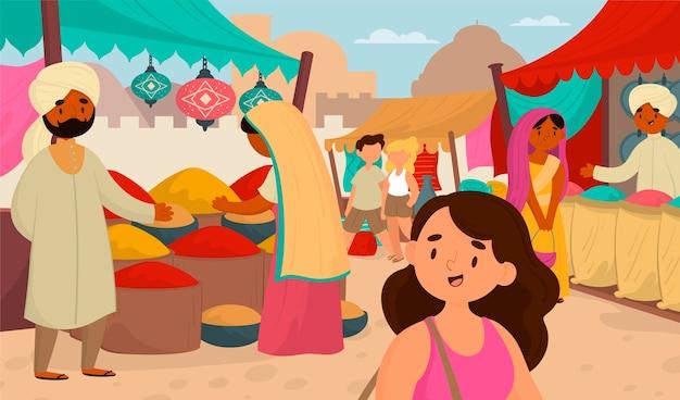 Ilustración de mercado de bazar árabe