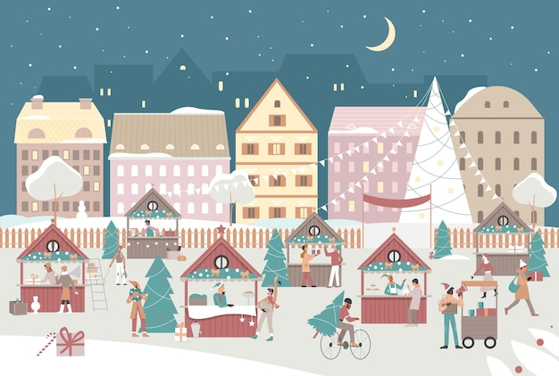 Ilustración del mercado callejero de la ciudad de navidad de noche.