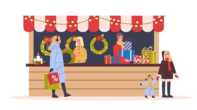 Ilustración del mercado navideño. comida festiva y vacaciones.